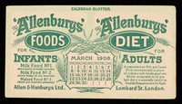 view The 'Allenbury' Foods for infants : The 'Allenburys' Diet for adults : March 1908.