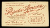 view Bynin-Amara : analogous to Eastons Syrup but much easier of assimilation : July 1908.