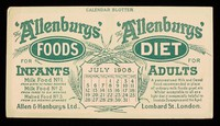 view The 'Allenbury' Foods for infants : The 'Allenburys' Diet for adults : July 1908.