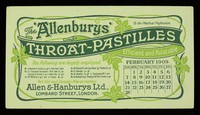 """view The """"Allenburys"""" throat-pastilles : efficient and palatable : February 1909."""