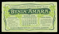 view Bynin-Amara : analogous to Eastons Syrup but much easier of assimilation : March 1909.