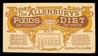 view The 'Allenbury' Foods for infants : The 'Allenburys' Diet for adults : May 1909.
