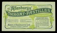 """view The """"Allenburys"""" throat-pastilles : efficient and palatable : February 1910."""
