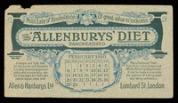 """view The """"Allenburys"""" diet pancreatised : most easy of assimilation, of great value in sickness : February 1910."""