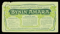 """view Bynin-Amara : """"a distinct advance on Easton's Syrup."""" The Lancet : March 1910."""