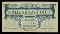 view The 'Allenburys' diet pancreatised : most easy of assimilation, of great value in sickness : June 1910.