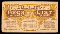 view The 'Allenbury' Foods for infants : The 'Allenburys' Diet for adults : July 1910.