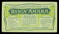 """view Bynin-Amara : """"a distinct advance on Easton's Syrup."""" The Lancet : August 1910."""