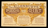 view The 'Allenbury' Foods for infants : The 'Allenburys' Diet for adults : September 1910.