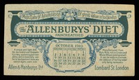 view The 'Allenburys' diet pancreatised : most easy of assimilation, of great value in sickness : October 1910.