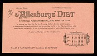 view The 'Allenburys' diet : a partially pancreatsed milk and wheaten food : January 1911.
