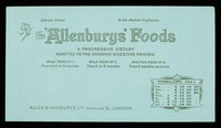 view The 'Allenburys' Foods : a progressive dietary adapted to the growing digestive powers : February 1911.