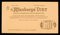 view The 'Allenburys' diet : a partially pancreatsed milk and wheaten food : May 1911.
