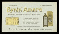 """view Bynin-Amara : """"a distinct advance on Easton's Syrup."""" The Lancet : June 1911."""