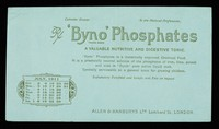 view 'Byno' Phosphates : a valuable nutritive and digestive tonic : July 1911.