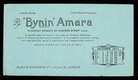 """view 'Bynin' Amara : """"a distinct advance on Easton's Syrup."""" The Lancet : October 1911."""