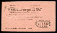 view The 'Allenburys' diet : a partially pancreatised milk and wheaten food : January 1912.