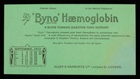 view 'Byno' Haemoglobin : a blood forming digestive tonic nutrient : September 1912.