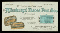 view The 'Allenburys' throat pastilles (medicated) : efficient and palatable : September 1912.