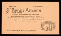 """view 'Bynin' Amara : """"a distinct advance on Easton's Syrup."""" Lancet : October 1912."""