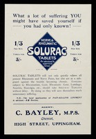 view What a lot of suffering you might have saved yourself if you had only known! : nerve & rheumatic Solurac tablets.
