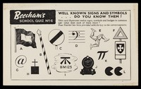 view Beecham's school quiz No 6 : well known signs and symbols...do you know them?