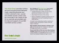 view Are you a volunteer for The Food Chain : would you like to have more involvement in the oversight of the charity? ... the think about becoming a trustee of the Food Chain! / The Food Chain.