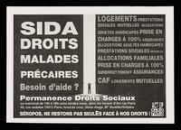 view SIDA, droits, malades, précaires, besoin d'aide?... : séropos, ne restons pas seules face à nos droits! / ACT UP Paris.