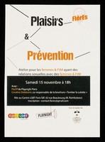 view Plaisirs & prévention : atelier pour les femmes & FtM ayant des relations sexuelles aves des femmes & FtM : samedi 15 novembre à 18h / Centre LGBT Paris Île-de-France.