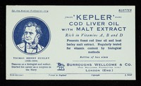view 'Kepler' cod liver oil with malt extract : rich in Vitamins A, B and D.