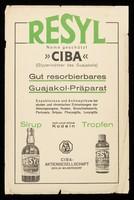 view Resyl Name geschützt CIBA (Glyzerinäther des Guajakols) : gut resorbierbares Guajakol-Präparat.