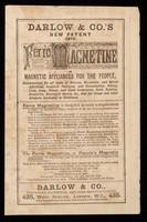 view Darlow & Co.'s new patent (1874) Ferro Magnetine.