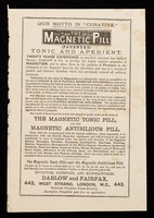 """view Our motto is """"curative"""" : The Magnetic Pill (patented) tonic and aperient."""