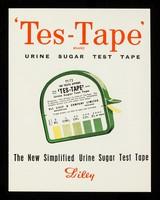 view 'Tes-Tape' : urine sugar test tape.