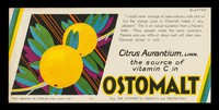 """view Citrus aurantium, linn. : the source of vitamin C in Ostomalt : """"all the vitamins for growth and protection""""."""