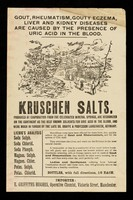 view Gout, rheumatism, couty eczema, liver and kidney diseases are caused by the presence of uric acid in the blood : Kruschen Salts.