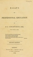 view Essays on professional education / By R.L. Edgeworth.