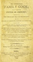 view The accomplished family cook; being a complete system of cookery, etc / By A. Glasse.