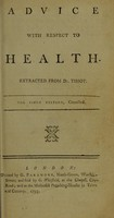 view Advice with respect to health / Extracted from Dr. Tissot.
