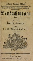 view Beobachtungen bey angewendeter Bella Donna bey den Menschen / [Johann Heinrich Muench].