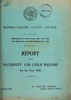 view Report upon maternity and child welfare for the year 1926 / Monmouthshire County Council.