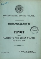 view Report upon maternity and child welfare for the year 1929 / Monmouthshire County Council.