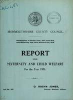 view Report upon maternity and child welfare for the year 1931 / Monmouthshire County Council.