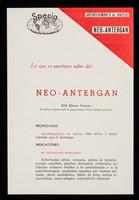 view Antihistaminico de sintesis Neo-Antergan : lo que es oportuno saber del: Neo-Antergan / Specia Productos Farmacéticos ; distribuidores para el Perú: Life.