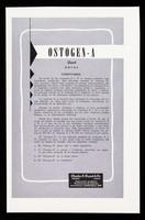 "view Ostogen-A ""Frosst"" gotas / Charles E. Frosst & Co. ; distribuidores exclusivos para Cuba: Distribuidora Cubana."