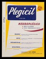 view Plegicil : neurolplégico : gran actividad, dosis terapeuticas bajas / Laboratoires Clin-Comar ; hecho en Mexico por: Labfarmex, S.A.