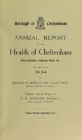 view [Report 1934] / Medical Officer of Health, Cheltenham Borough.