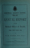 view [Report 1919] / Sanitary Committee [- Medical Officer of Health], Cornwall County Council.