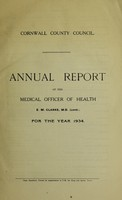 view [Report 1934] / Sanitary Committee [- Medical Officer of Health], Cornwall County Council.