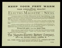 view Keep your feet warm and your circulation healthy by wearing our Electro-Magnetic Socks.